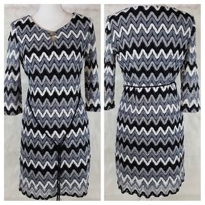 Sandra Darren gray lace Chevron Sheath dress Sz 8P